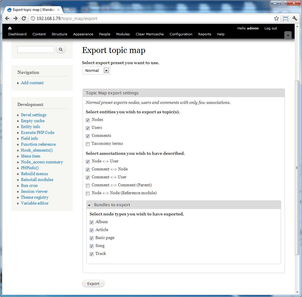 Topic Map Export for Drupal - WandoraWiki